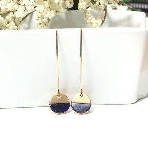 Gold Tone Deep Blue Hanging Earrings